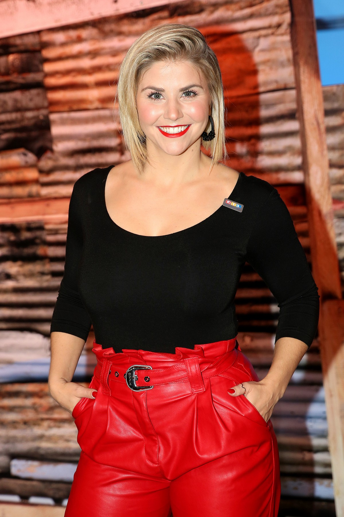 Beatrice Egli in Black and Red Outfit attends RTL ...
