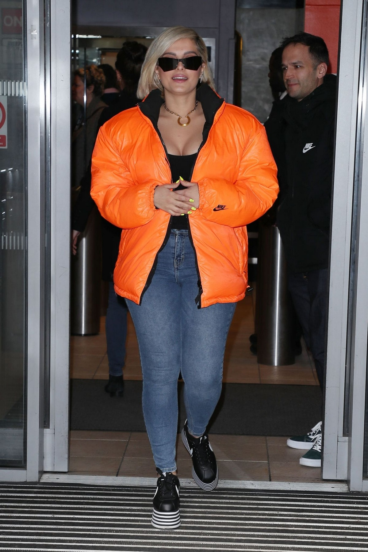 Bebe Rexha in Orange Jacket with Blue Jeans Leaves BBC Radio Studios in London 1