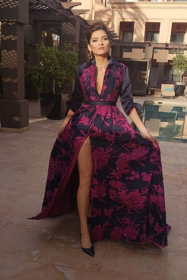 Blanca Blanco in floral printed stylish dress at Marrakech International Film Festival in Morocco 2019/11/29 1