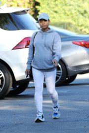 Christina Milian in grey hoddie with tights at her Beinet Box Truck in Los Angeles 2019/11/24 1