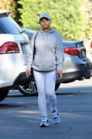 Christina Milian in grey hoddie with tights at her Beinet Box Truck in Los Angeles 2019/11/24 5
