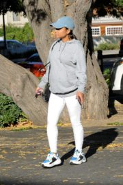 Christina Milian in grey hoddie with tights at her Beinet Box Truck in Los Angeles 2019/11/24 7