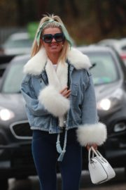 Christine McGuinness in white cozy teddy jacket and tights out in Alderley Edge Cheshire, England 2019/11/28 1