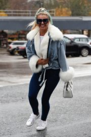 Christine McGuinness in white cozy teddy jacket and tights out in Alderley Edge Cheshire, England 2019/11/28 2