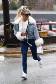 Christine McGuinness in white cozy teddy jacket and tights out in Alderley Edge Cheshire, England 2019/11/28 3
