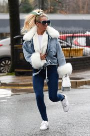 Christine McGuinness in white cozy teddy jacket and tights out in Alderley Edge Cheshire, England 2019/11/28 5