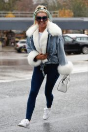 Christine McGuinness in white cozy teddy jacket and tights out in Alderley Edge Cheshire, England 2019/11/28 6