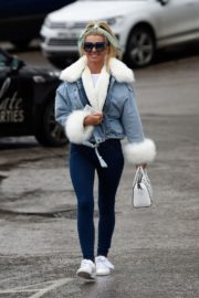 Christine McGuinness in white cozy teddy jacket and tights out in Alderley Edge Cheshire, England 2019/11/28 7