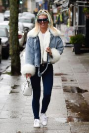 Christine McGuinness in white cozy teddy jacket and tights out in Alderley Edge Cheshire, England 2019/11/28 9