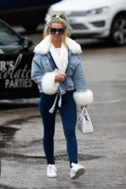Christine McGuinness in white cozy teddy jacket and tights out in Alderley Edge Cheshire, England 2019/11/28 10