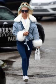Christine McGuinness in white cozy teddy jacket and tights out in Alderley Edge Cheshire, England 2019/11/28 13