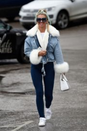 Christine McGuinness in white cozy teddy jacket and tights out in Alderley Edge Cheshire, England 2019/11/28 14