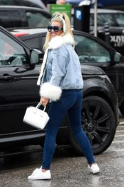 Christine McGuinness in white cozy teddy jacket and tights out in Alderley Edge Cheshire, England 2019/11/28 16