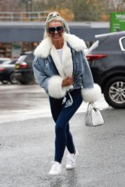 Christine McGuinness in white cozy teddy jacket and tights out in Alderley Edge Cheshire, England 2019/11/28 17