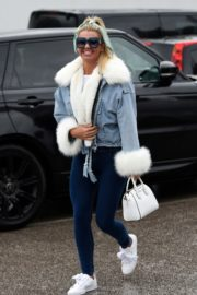 Christine McGuinness in white cozy teddy jacket and tights out in Alderley Edge Cheshire, England 2019/11/28 19