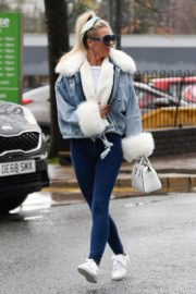 Christine McGuinness in white cozy teddy jacket and tights out in Alderley Edge Cheshire, England 2019/11/28 21