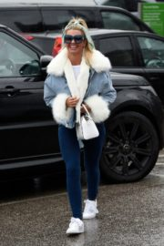 Christine McGuinness in white cozy teddy jacket and tights out in Alderley Edge Cheshire, England 2019/11/28 22