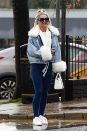 Christine McGuinness in white cozy teddy jacket and tights out in Alderley Edge Cheshire, England 2019/11/28 25