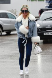 Christine McGuinness in white cozy teddy jacket and tights out in Alderley Edge Cheshire, England 2019/11/28 26