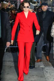 Daisy Ridley in red outfit arrives Good Morning America in New York City 2019/11/26 8
