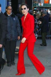 Daisy Ridley in red outfit arrives Good Morning America in New York City 2019/11/26 10