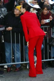Daisy Ridley in red outfit arrives Good Morning America in New York City 2019/11/26 11