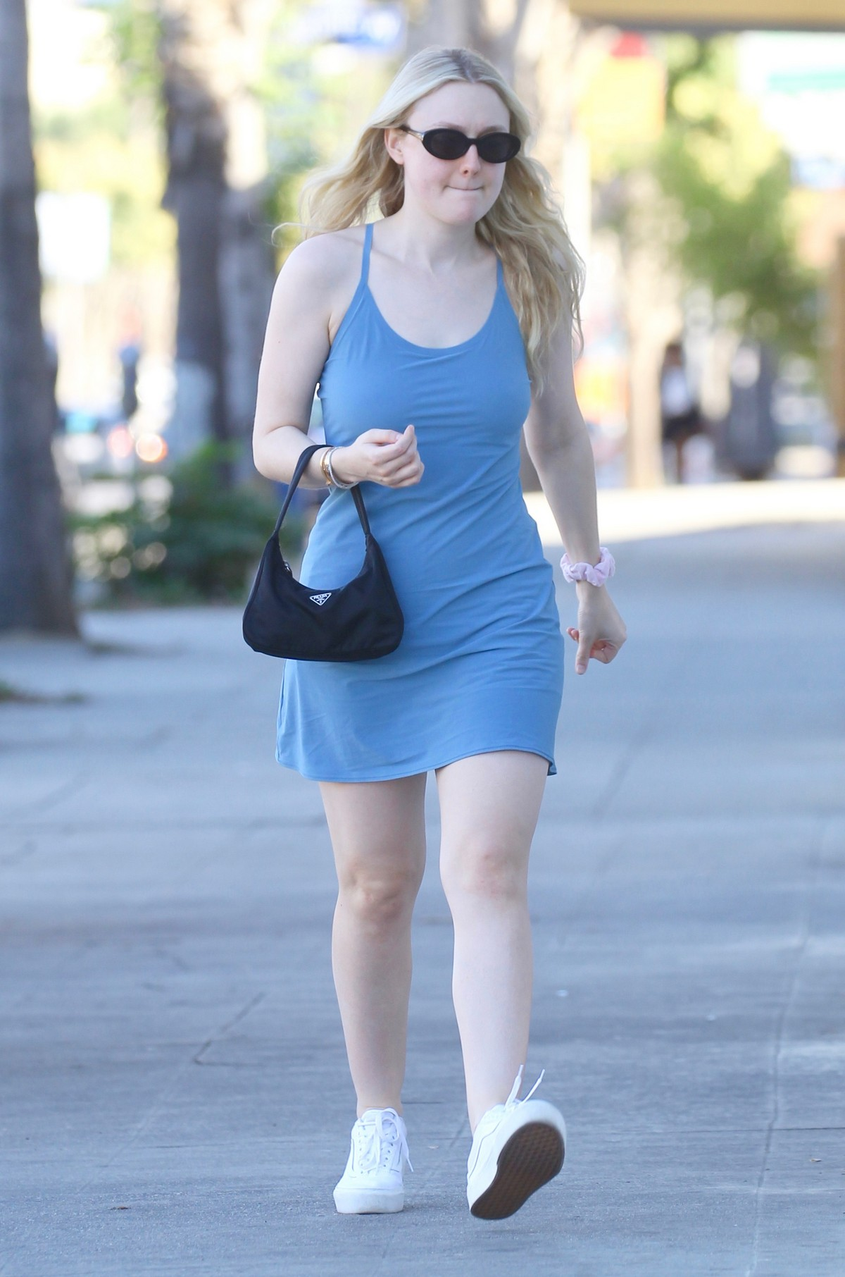Dakota Fanning seen in Light Blue Dress Out and About in Studio City 2019/11/18 1