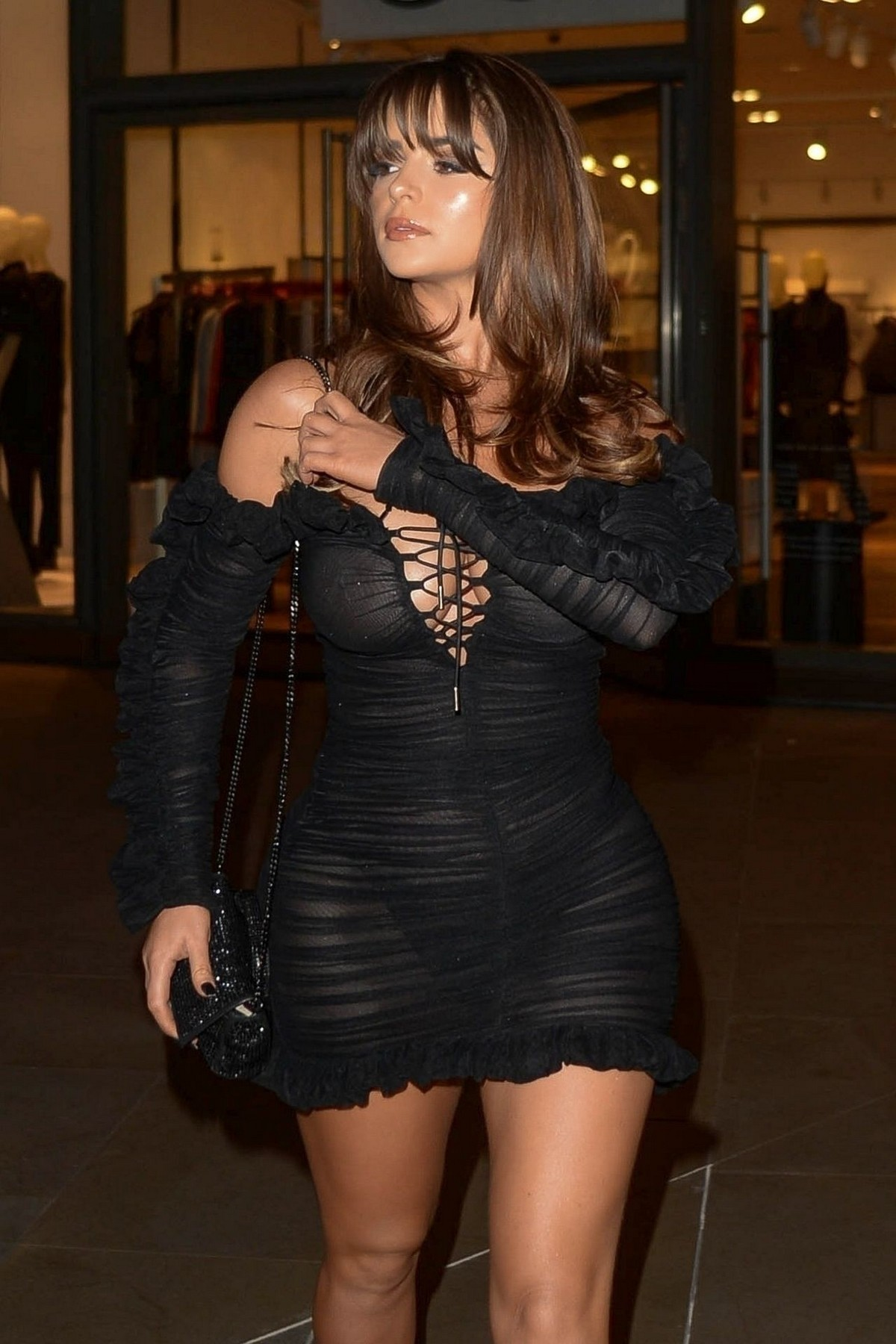 Demi Rose Mawby seen in Stylish Short Dress at The Skinny Tan Choc Range launch party in Madison, London 2019/11/19 3