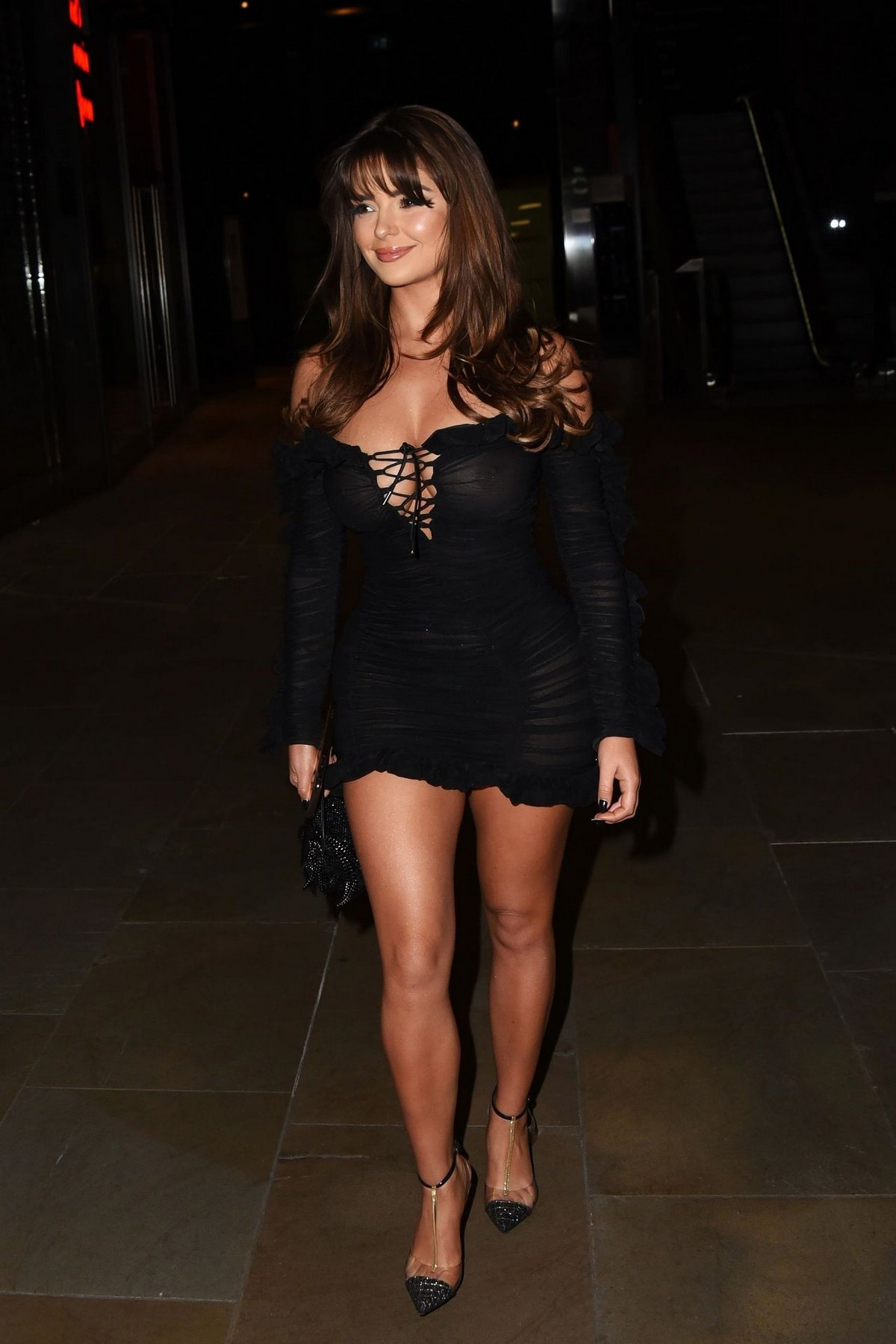 Demi Rose Mawby seen in Stylish Short Dress at The Skinny Tan Choc Range launch party in Madison, London 2019/11/19 11