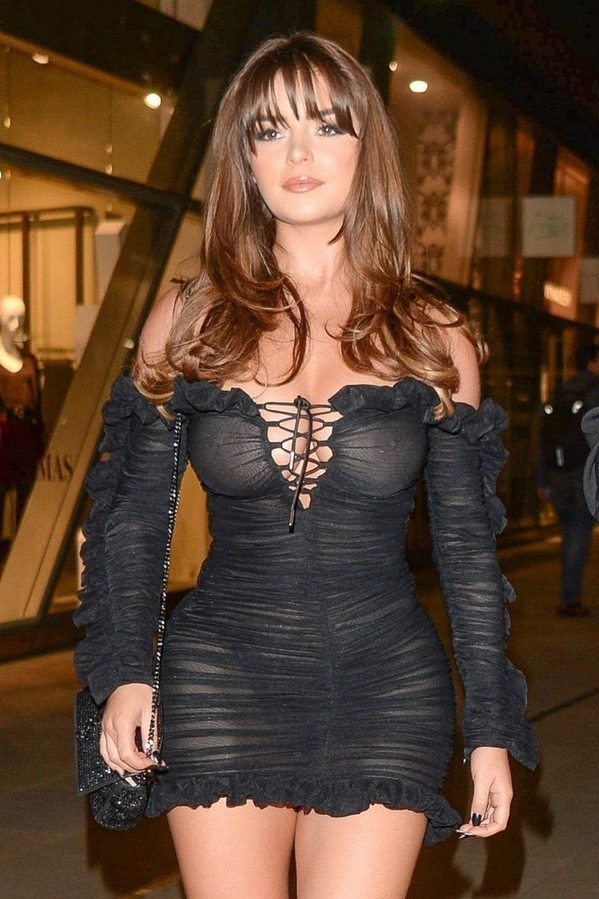 Demi Rose Mawby seen in Stylish Short Dress at The Skinny Tan Choc Range launch party in Madison, London 2019/11/19 16