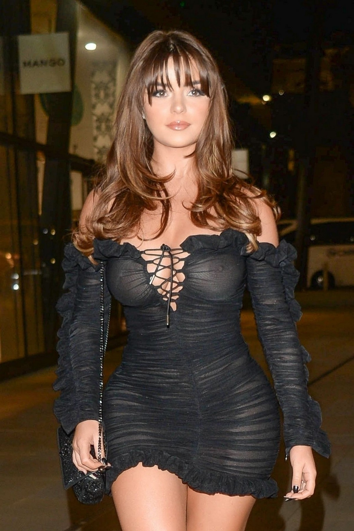 Demi Rose Mawby seen in Stylish Short Dress at The Skinny Tan Choc Range launch party in Madison, London 2019/11/19 17