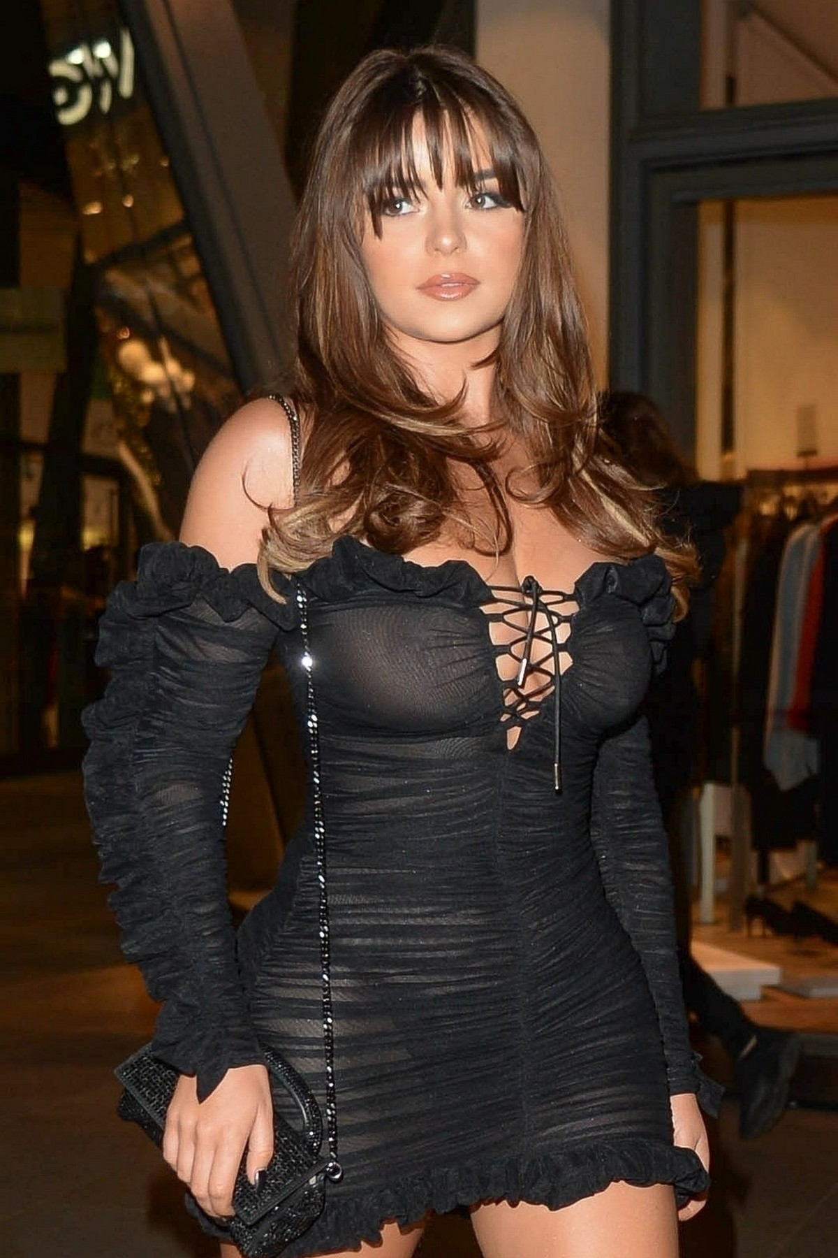 Demi Rose Mawby seen in Stylish Short Dress at The Skinny Tan Choc Range launch party in Madison, London 2019/11/19 18