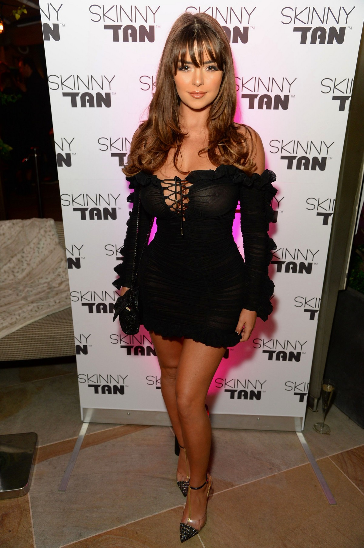 Demi Rose Mawby seen in Stylish Short Dress at The Skinny Tan Choc Range launch party in Madison, London 2019/11/19 22