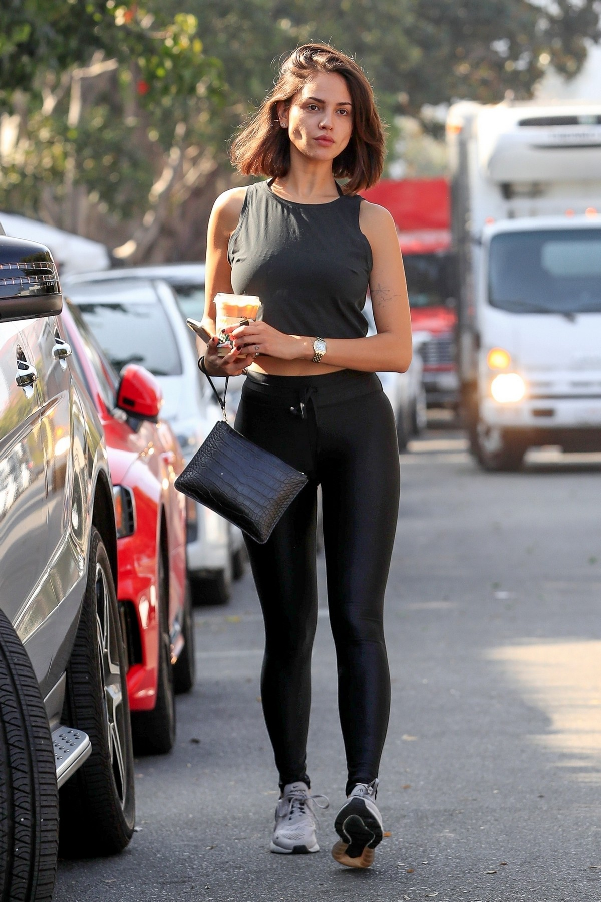 Eiza Gonzalez seen in Black Tank Top with Tights Out in West Hollywood 2019/11/07 12