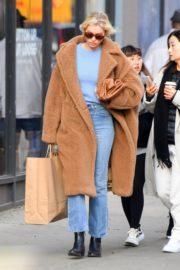 Elsa Hosk seen in brown long coat out in New York 2019/11/25 1