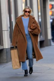 Elsa Hosk seen in brown long coat out in New York 2019/11/25 2
