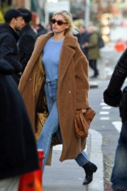 Elsa Hosk seen in brown long coat out in New York 2019/11/25 3
