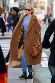 Elsa Hosk seen in brown long coat out in New York 2019/11/25 5