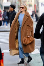 Elsa Hosk seen in brown long coat out in New York 2019/11/25 6