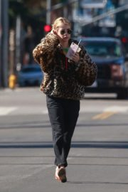 Emma Roberts in Animal Print Jacket with Black Denim out in Los Angeles 2019/11/24 1
