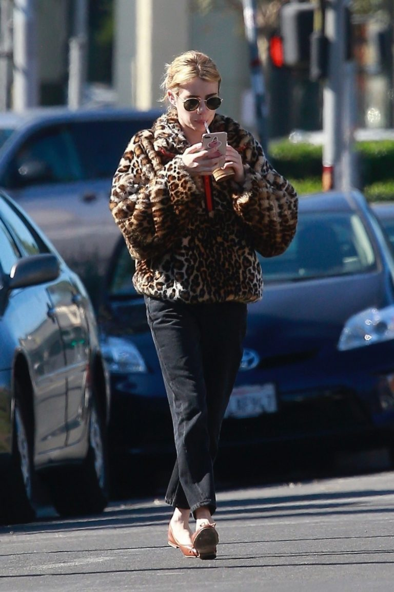 Emma Roberts in Animal Print Jacket with Black Denim out in Los Angeles 2019/11/24 2