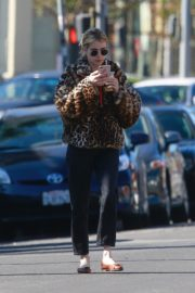 Emma Roberts in Animal Print Jacket with Black Denim out in Los Angeles 2019/11/24 5