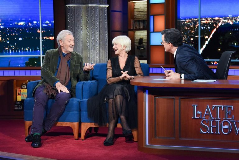 Helen Mirren and Ian McKellen attend The Late Show with Stephen Colbert in New York 2019/11/06 1