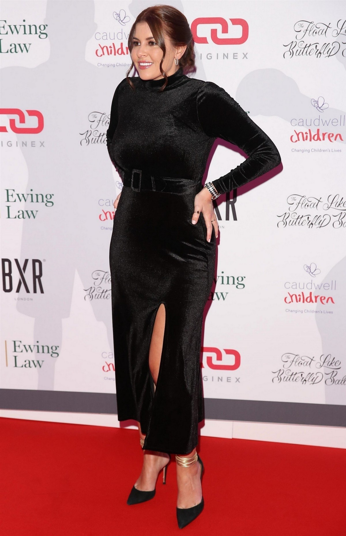 Imogen Thomas seen all in black at Float Like A Butterfly Ball in London 2019/11/16 1