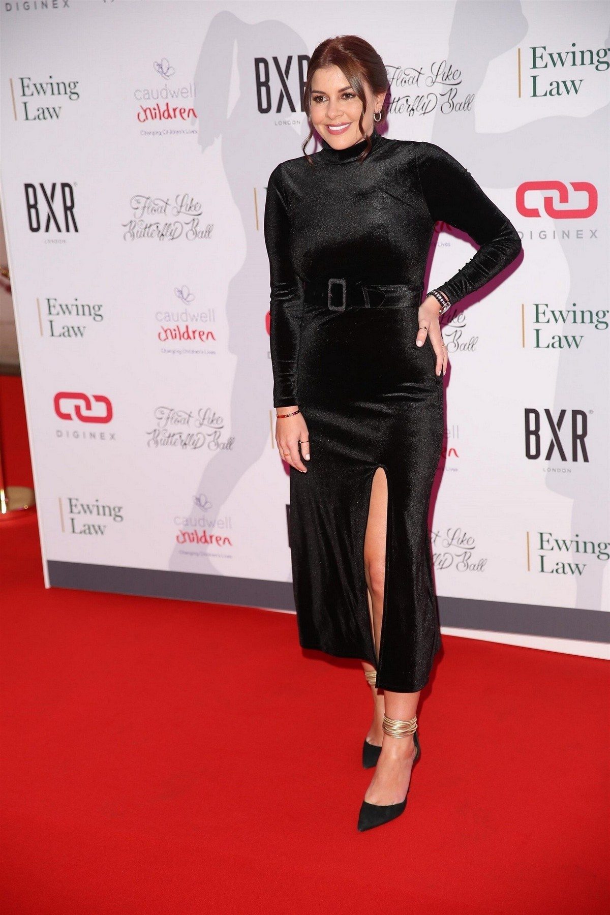 Imogen Thomas seen all in black at Float Like A Butterfly Ball in London 2019/11/16 6