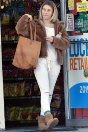 Julianne Hough Without Makeup in White Outfit with Brown Jacket Out in Burbank 2019/11/23 1