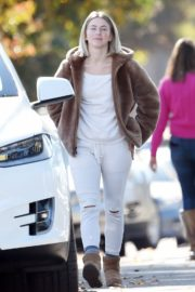 Julianne Hough Without Makeup in White Outfit with Brown Jacket Out in Burbank 2019/11/23 2