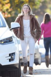 Julianne Hough Without Makeup in White Outfit with Brown Jacket Out in Burbank 2019/11/23 3