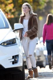 Julianne Hough Without Makeup in White Outfit with Brown Jacket Out in Burbank 2019/11/23 4