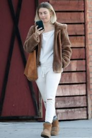 Julianne Hough Without Makeup in White Outfit with Brown Jacket Out in Burbank 2019/11/23 6